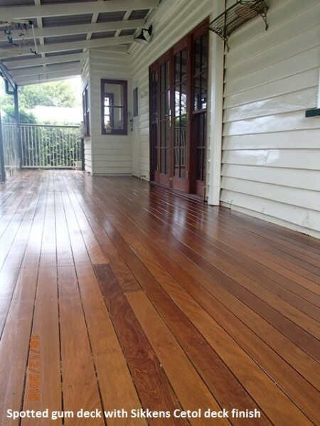 Spotted gum deck with Sikkens Cetol deck finish