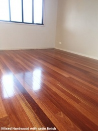 Timber Hardwood, with a satin polyurethane finish