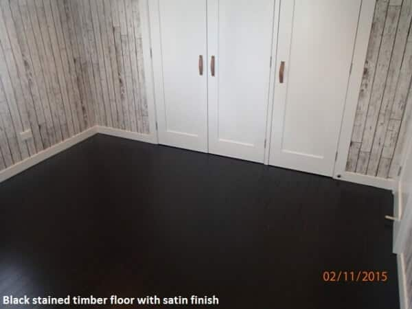 Stained timber floor