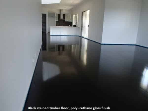 Black stained timber floor, polyurethane gloss finish