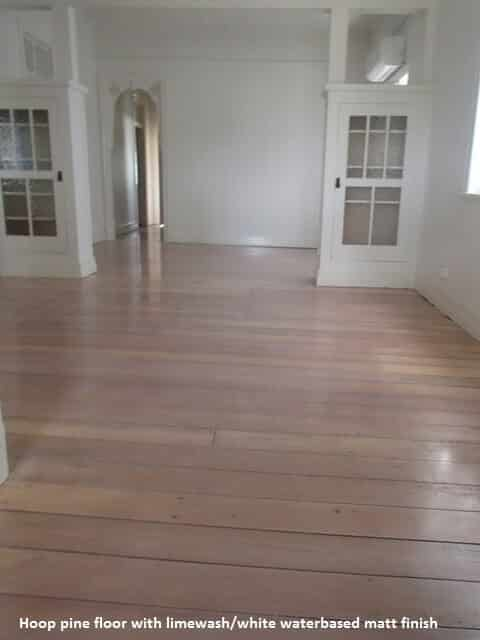 Pine floor with white finish