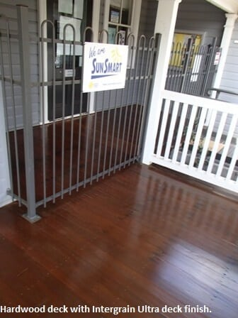Hardwood deck with Intergrain Ultra deck finish