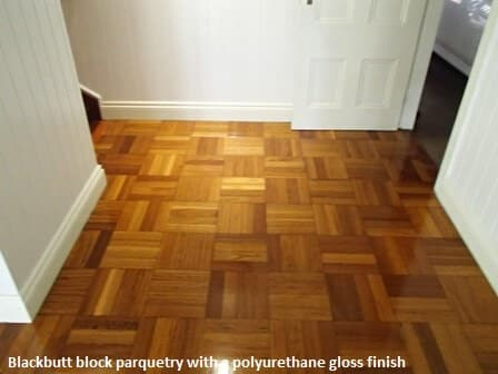 Parquetry with a gloss finish