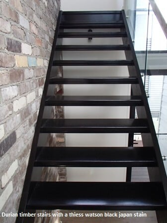 Stained black stairs