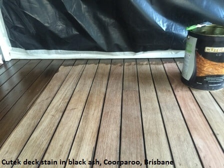 Cutek deck stain in black ash, Brisbane