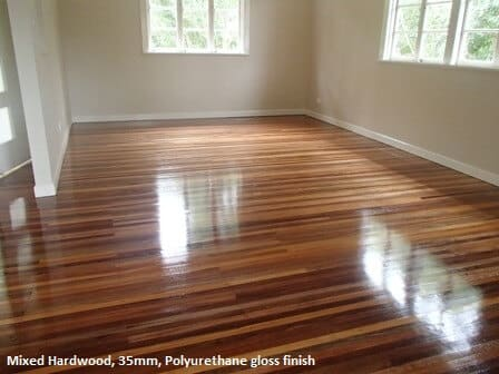 Gloss finish on mixed hardwood