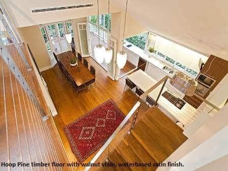 Walnut stained hoop pine flooring