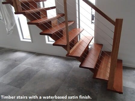 Stairs with waterbased satin finish.