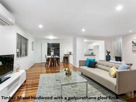 Mixed hardwood timber with polyurethane gloss finish