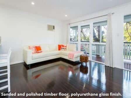timber floor with a polyurethane gloss finish