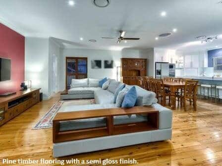 Pine Timber Flooring in Enoggera with semi gloss finish