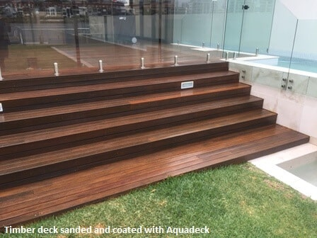 Timber decking sanded and coated with Aquadeck