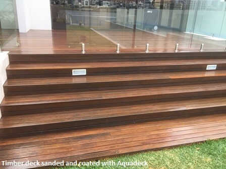 Sanded and polished decking