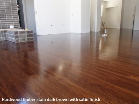 Hardwood timber floor - dark brown stain with satin finish