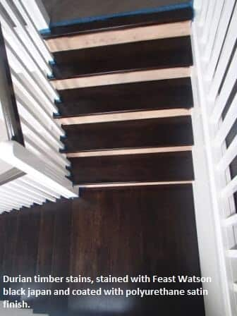 Stairs coated with polyurethane satin finish