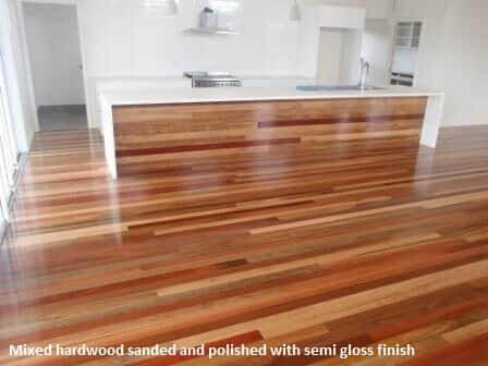 Floor Sanding Preparation: Mixed hardwood with semi gloss finish