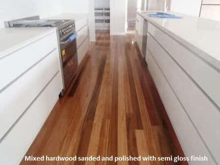 Mixed hardwood flooring with semi gloss finish