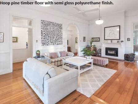 Pine timber floor, semi gloss finish