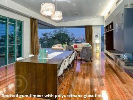 Spotted gum timber with polyurethane gloss finish, 2