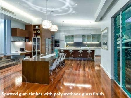 Spotted gum timber with polyurethane gloss finish