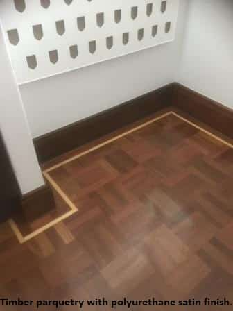 Timber parquetry with polyurethane satin finish.