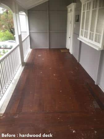Before photo Hardwood deck
