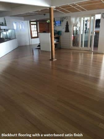 Blackbutt flooring with water based satin finish