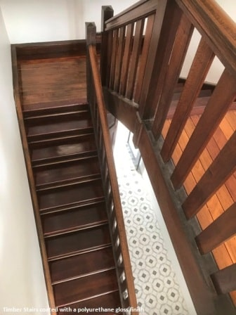 Timber stairs with gloss finish