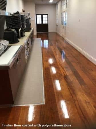 Timber floor coated with polyurethane gloss finish