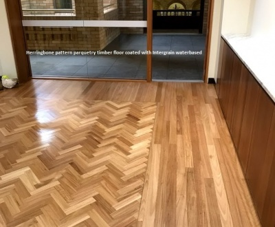 Herringbone pattern parquetry timber floor coated with Intergrain waterbased