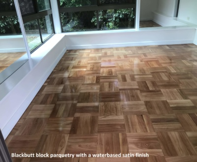 Blackbutt block parquetry water based satin