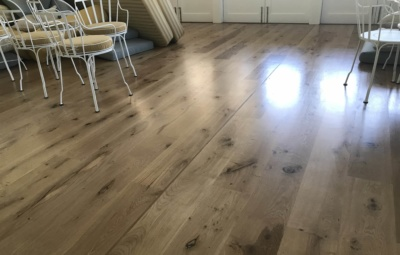Oak timber floor with waterbased satin finish