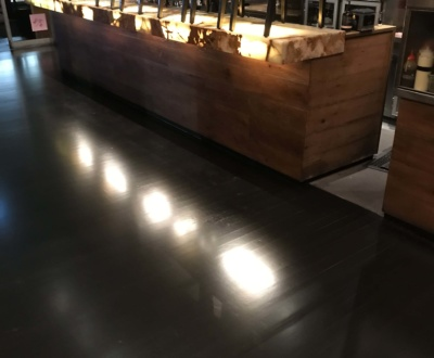 Hardwood timber floor with black stain and satin finish