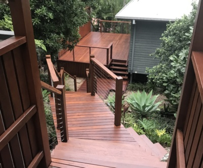 Mixed hardwood timber deck