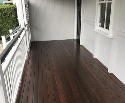 Hardwood timber deck on heritage house in Paddington Qld