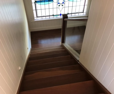 Hardwood timber stairs waterbased finish in East Brisbane