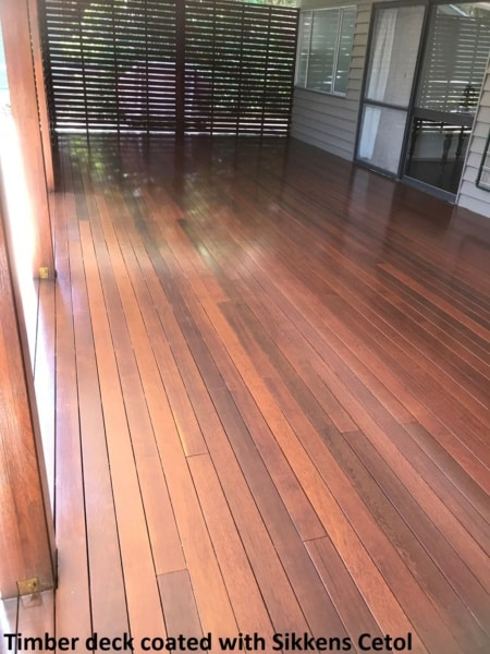 Timber deck coated with Sikkens