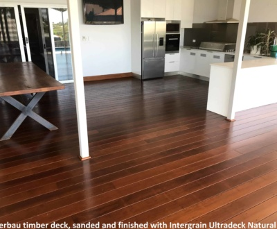 Merbau timber deck, sanded and finished with Intergrain Ultradeck Natural