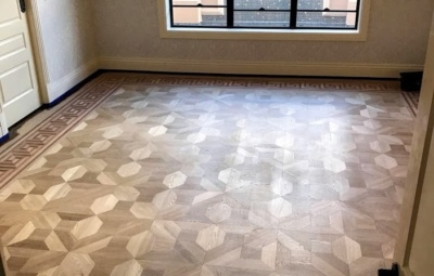 Parquetry timber feature floor with water based finish